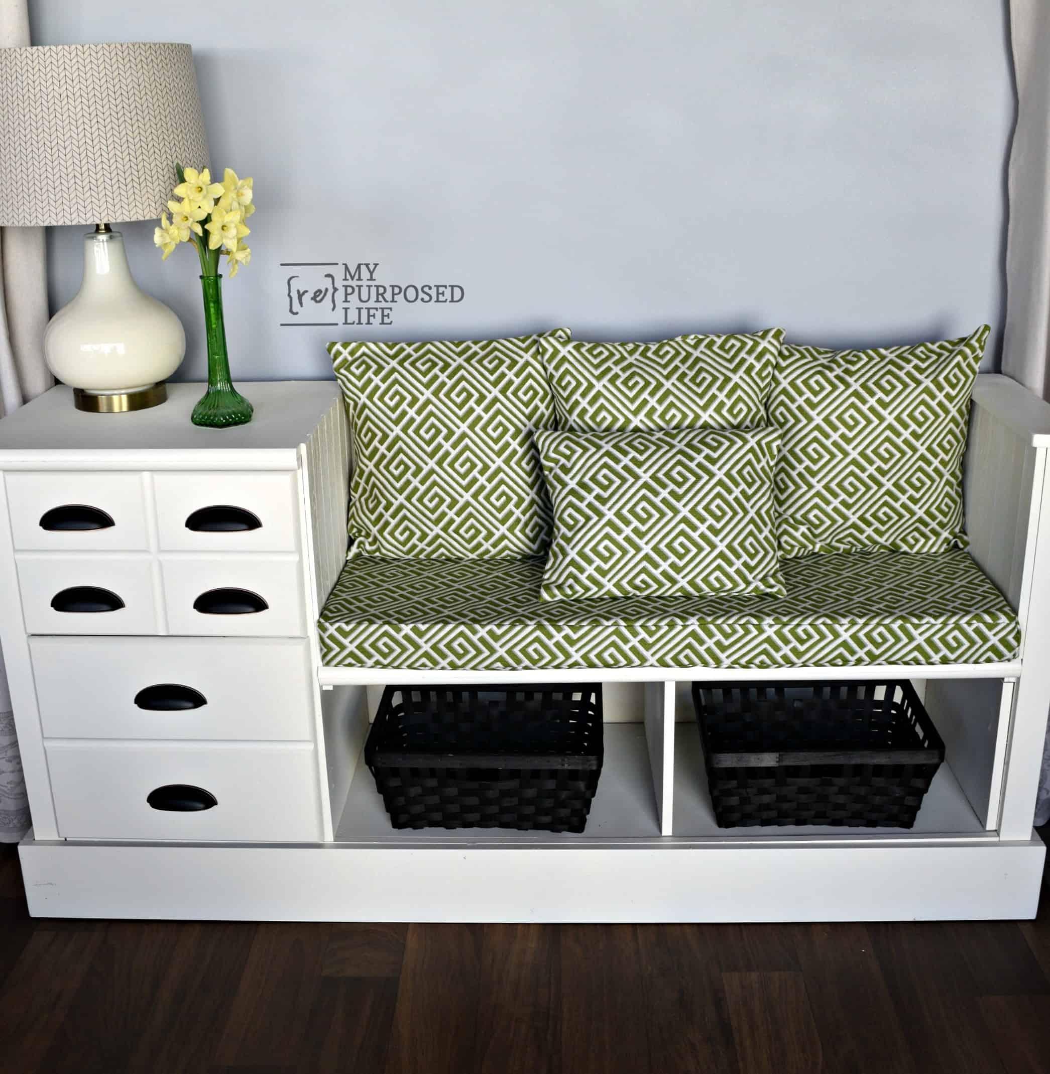 Repurposed dresser bench