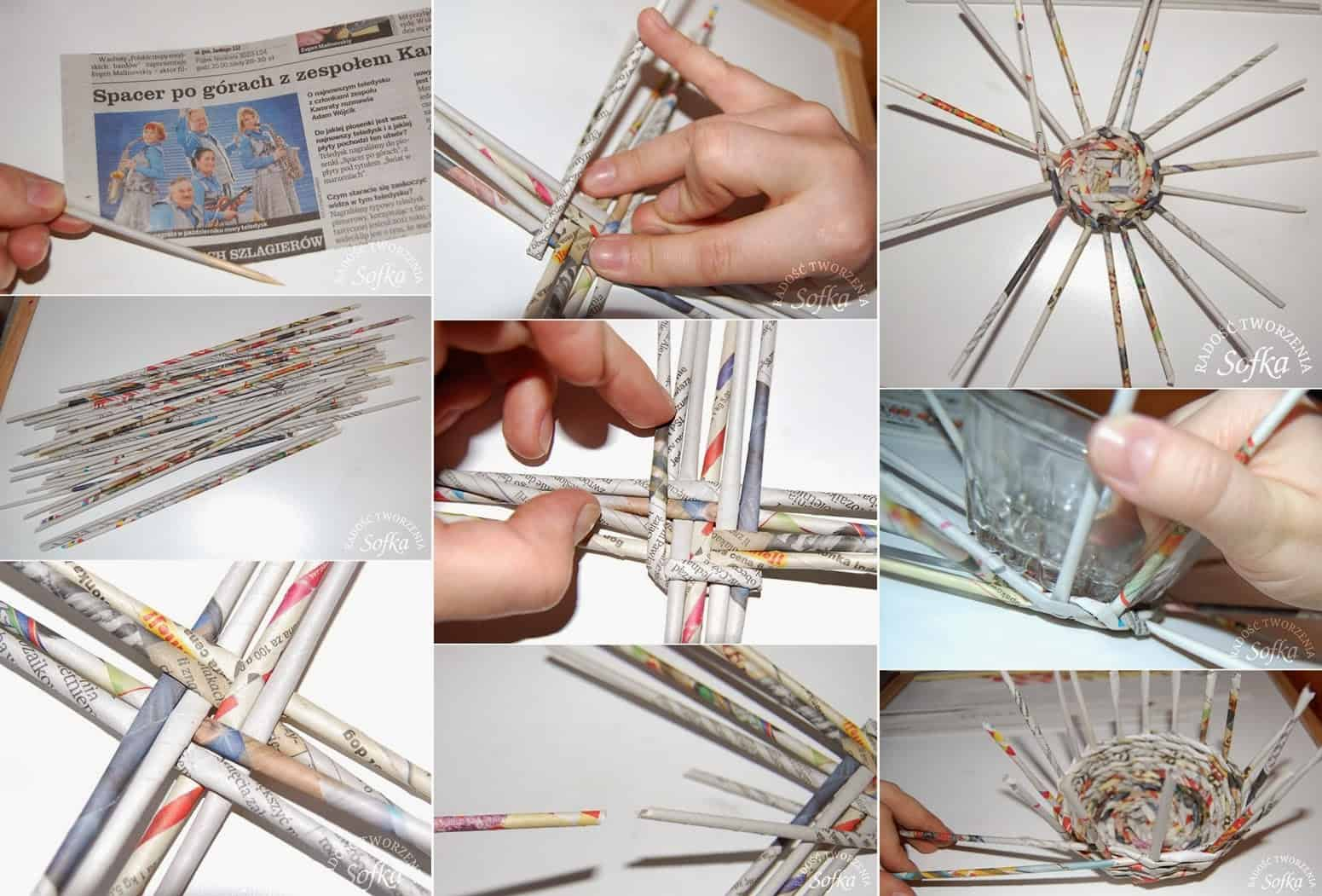 Rolled and woven newspaper basket