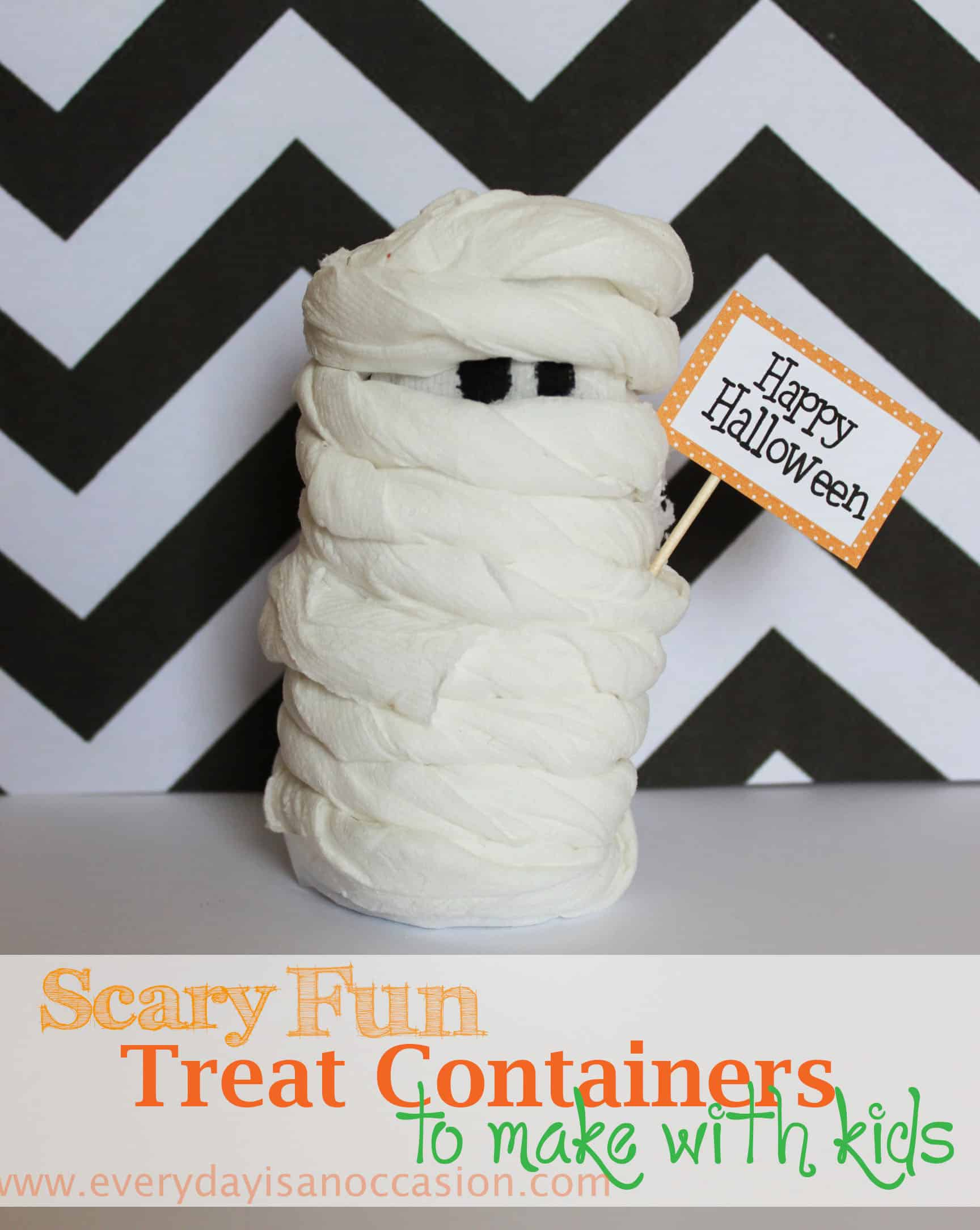 Spooky mummy treat containers