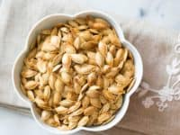 Standard salt and olive oil roasted pumpkin seeds 200x150 15 Awesome Ways to Save and Reuse Your Pumpkin Seeds