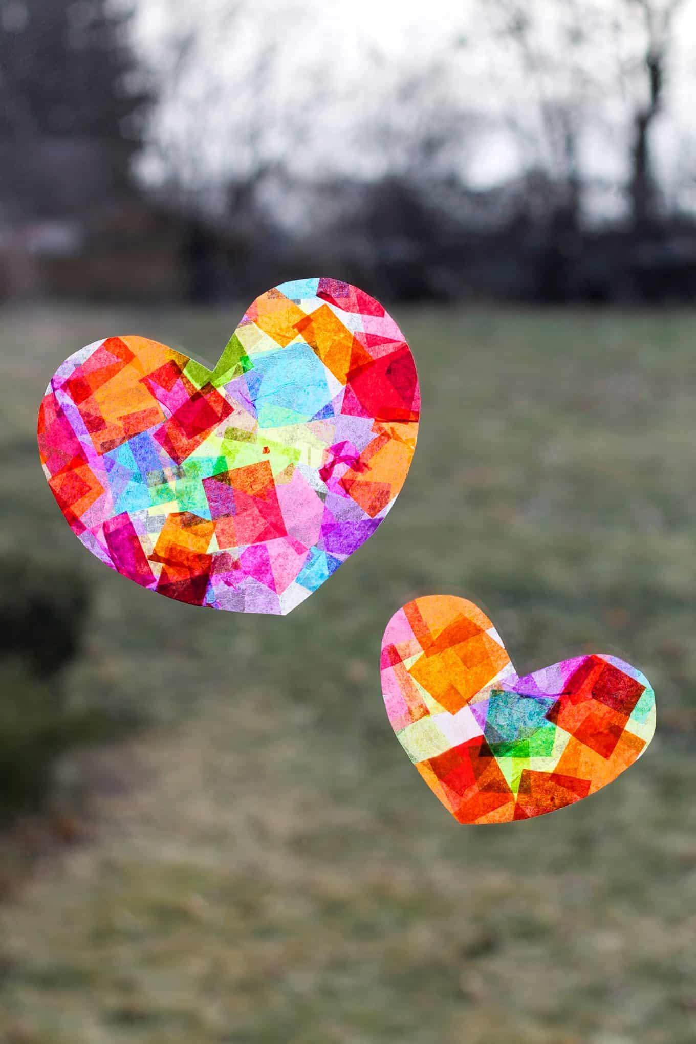 Tissue paper rainbow heart suncatchers