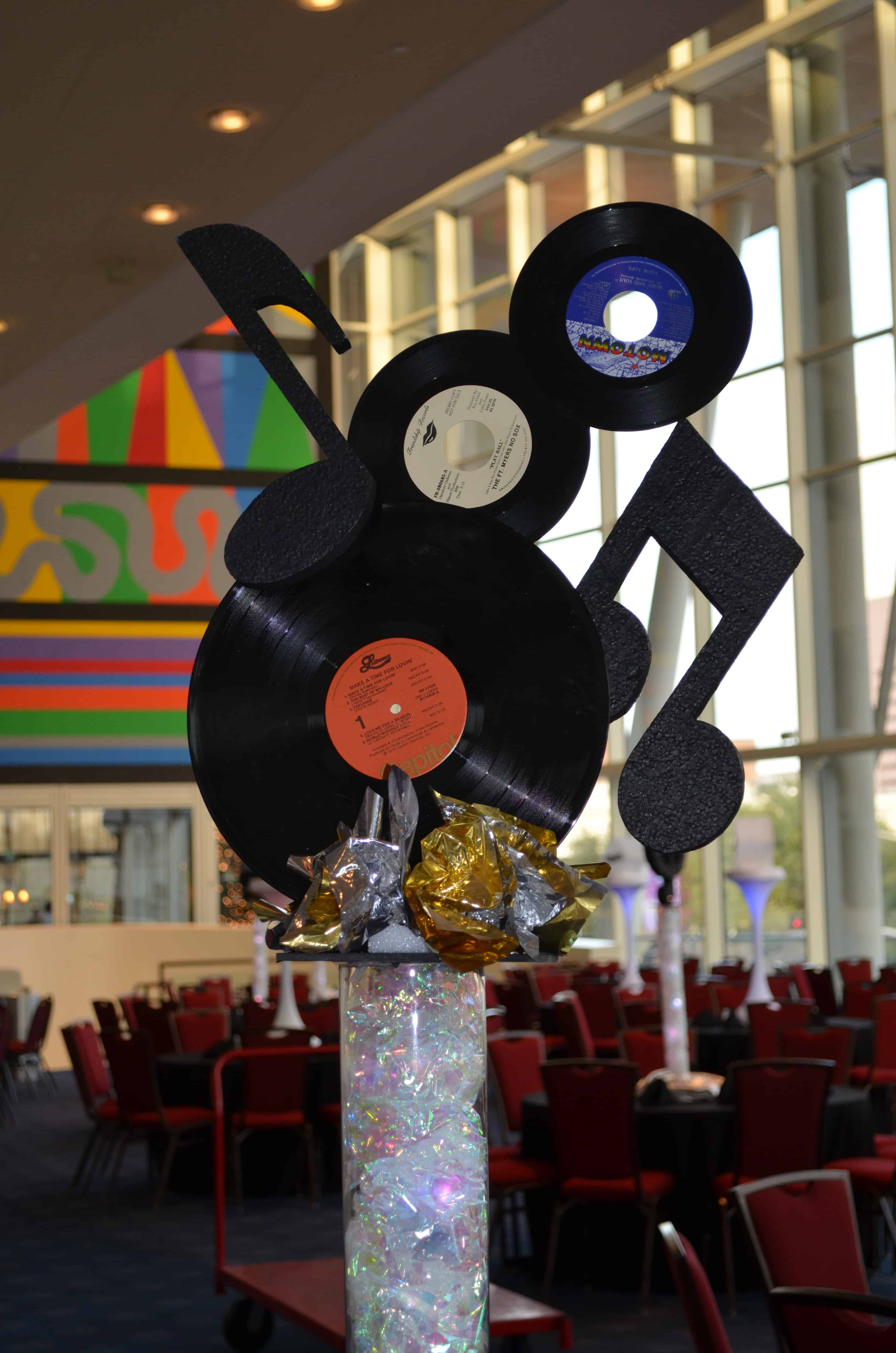 Upcycled record and music note centre pieces