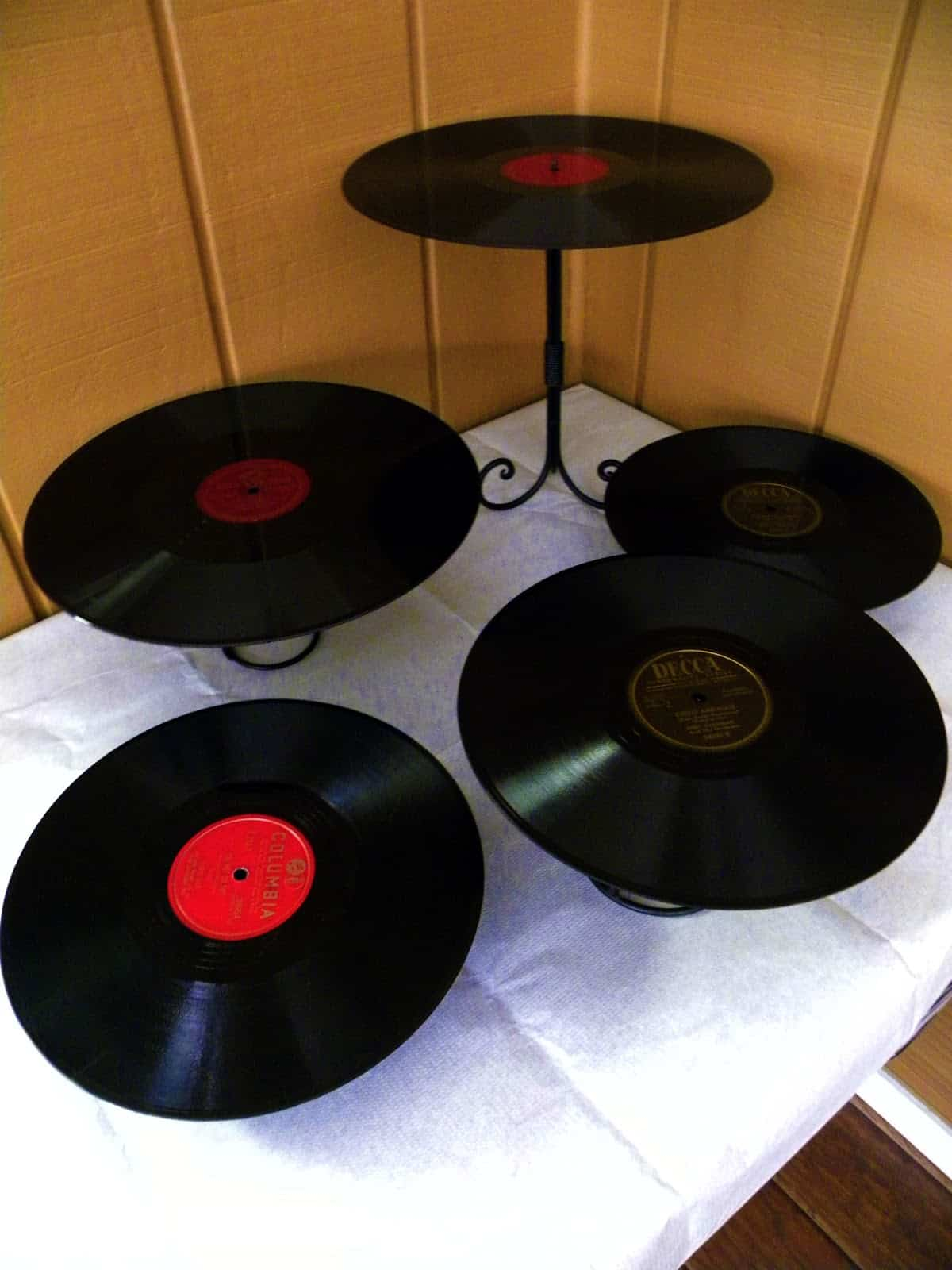 Upcycled record cake towers