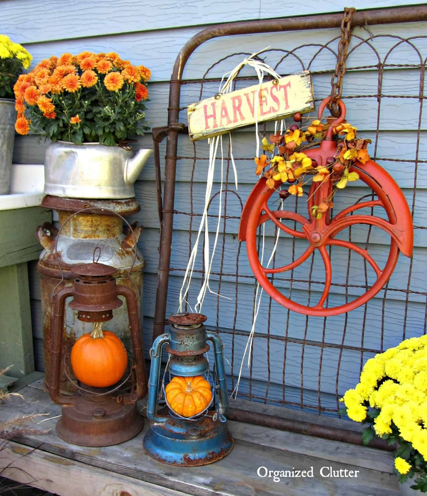 Vintage farmwares as planters and pumpkin stands