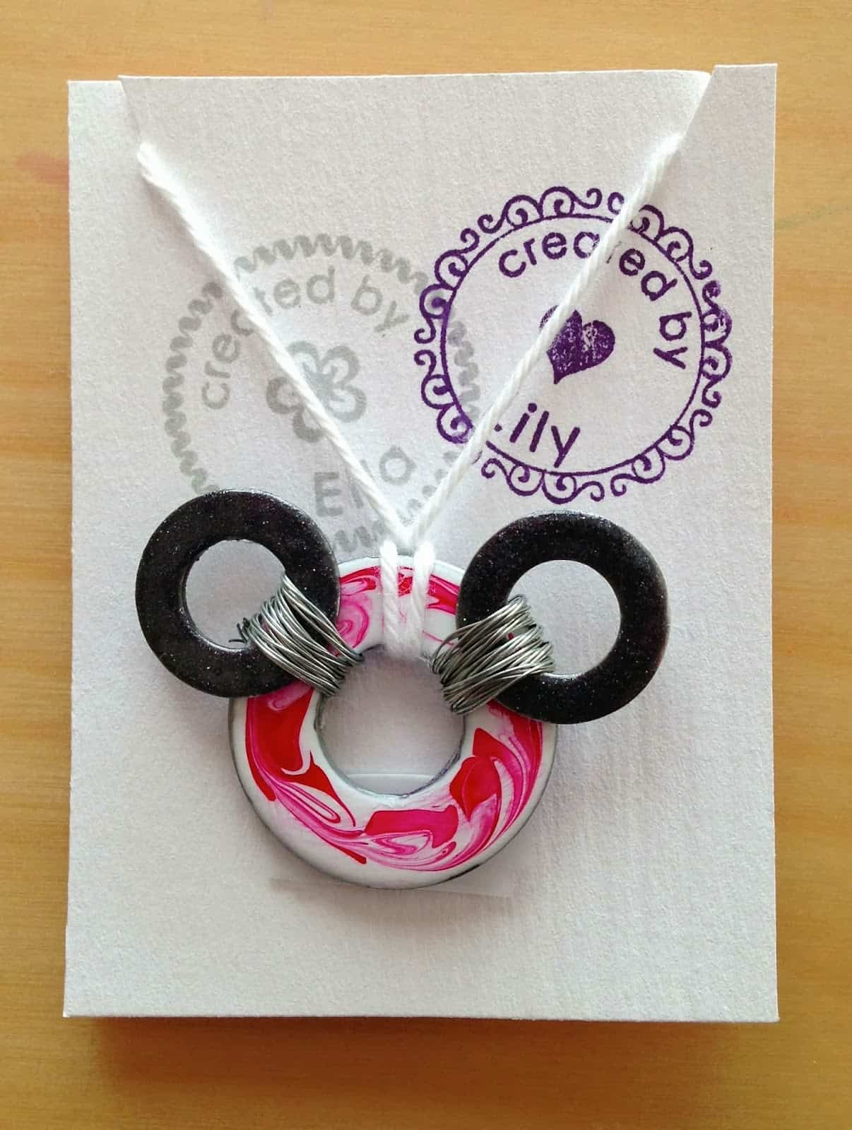 Washer and nail polish Mickey Mouse necklace