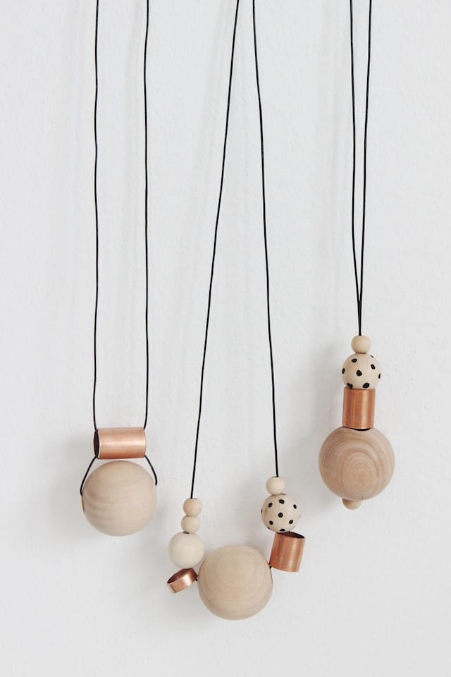 Wood and copper bead necklaces