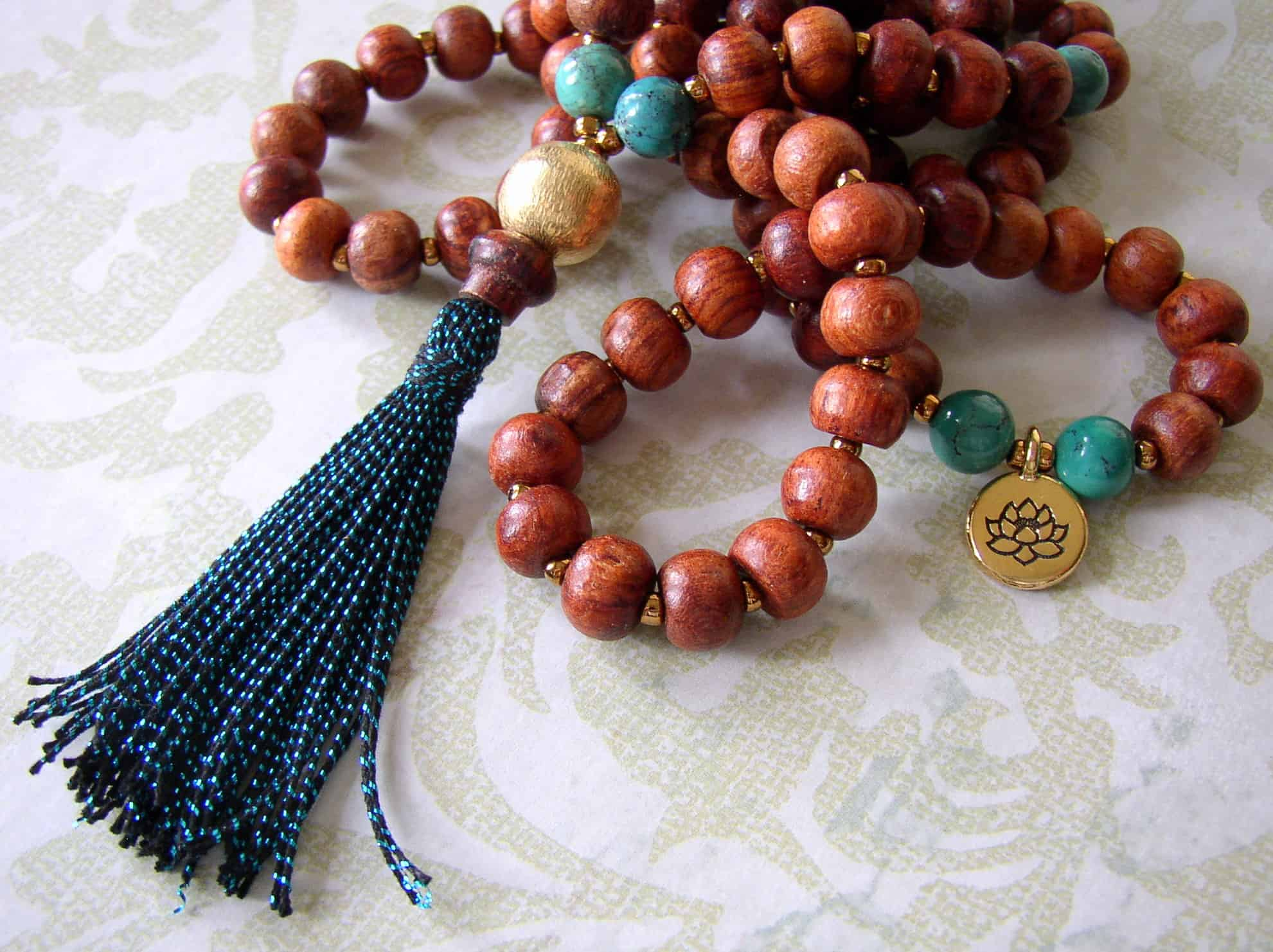 Wooden bead turquoise and tassel rosary