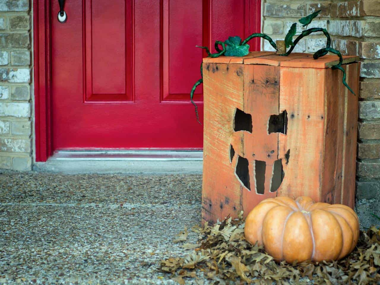 Wooden crate Jack-O-Lantern