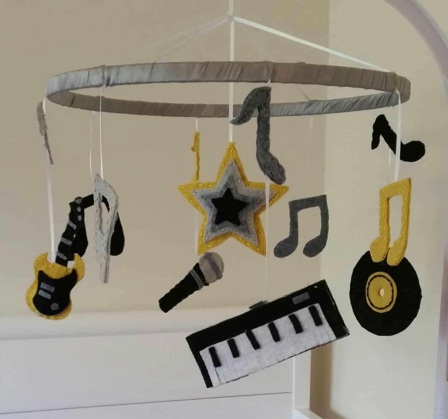 felt instrument nursery mobile