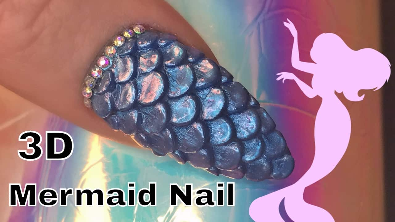 3D mermaid scale nails