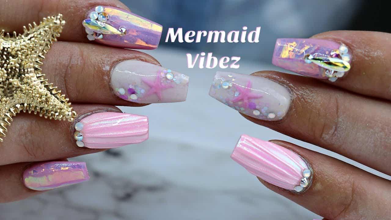 Acrylic pink mermaid nails