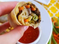 Baked veggie spring rolls with spicy black olive tempanade 200x150 A Delicious Snack: 15 Unconventional Spring Roll Recipes