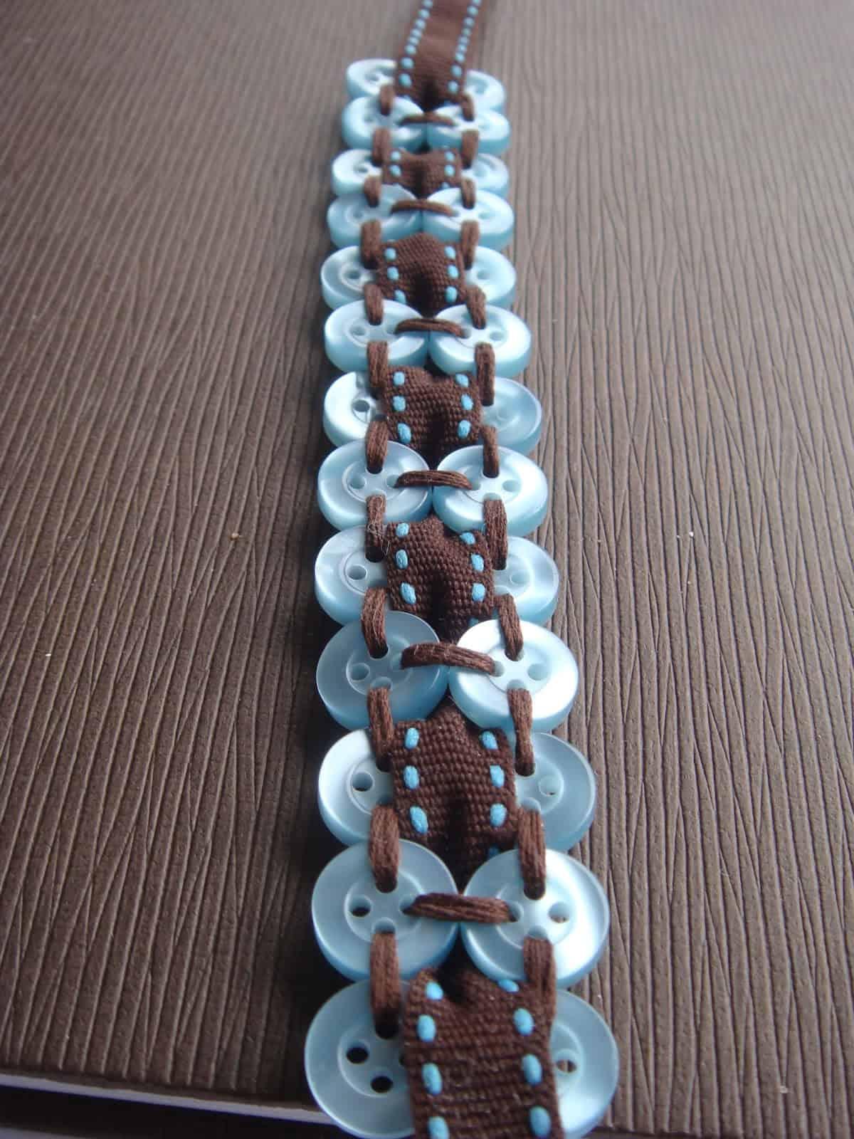 Blue button ribbon bracelet