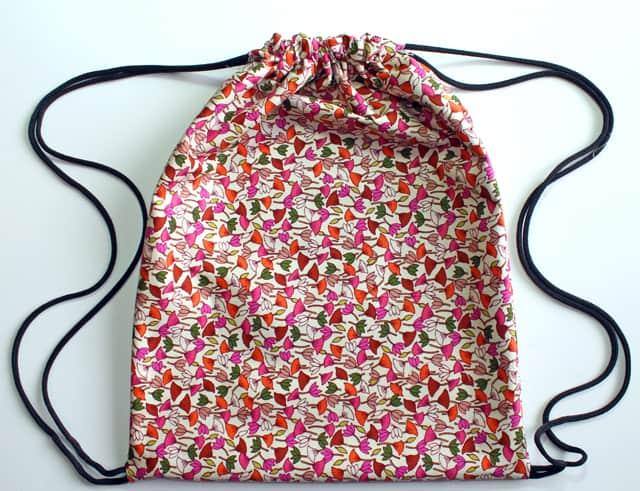 Bright floral drawstring bag