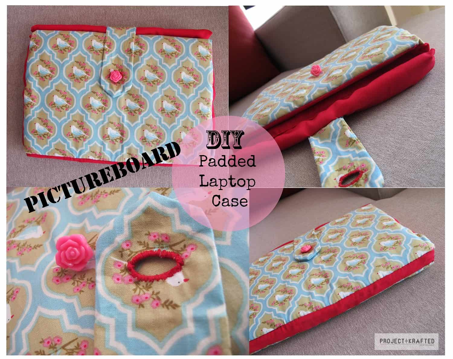 Buttoning padded laptop case
