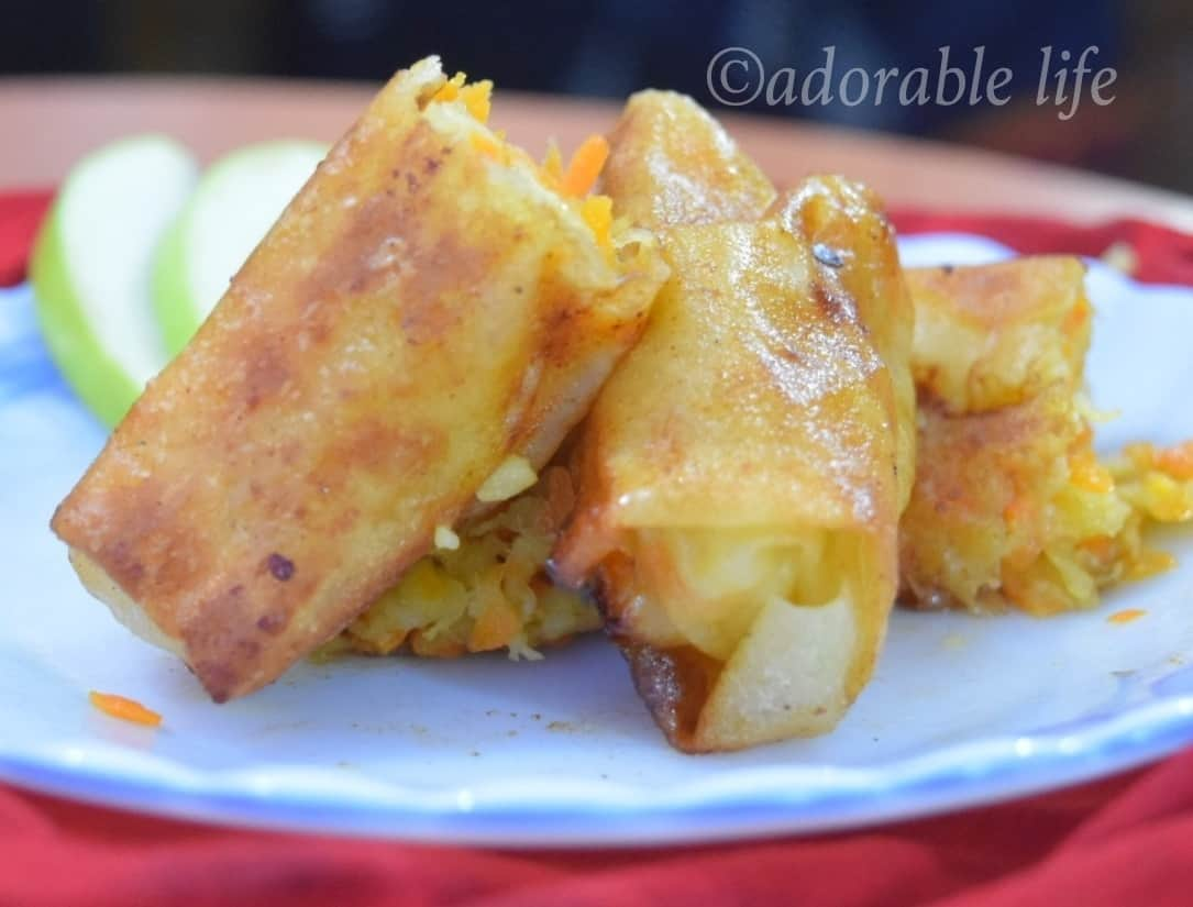 Carrot apple cheese spring rolls