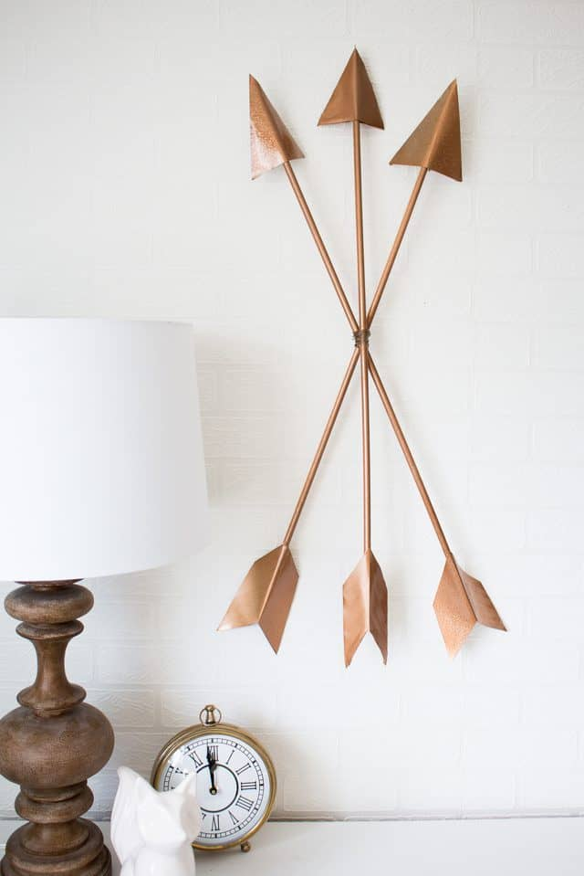 Copper arrow wall art