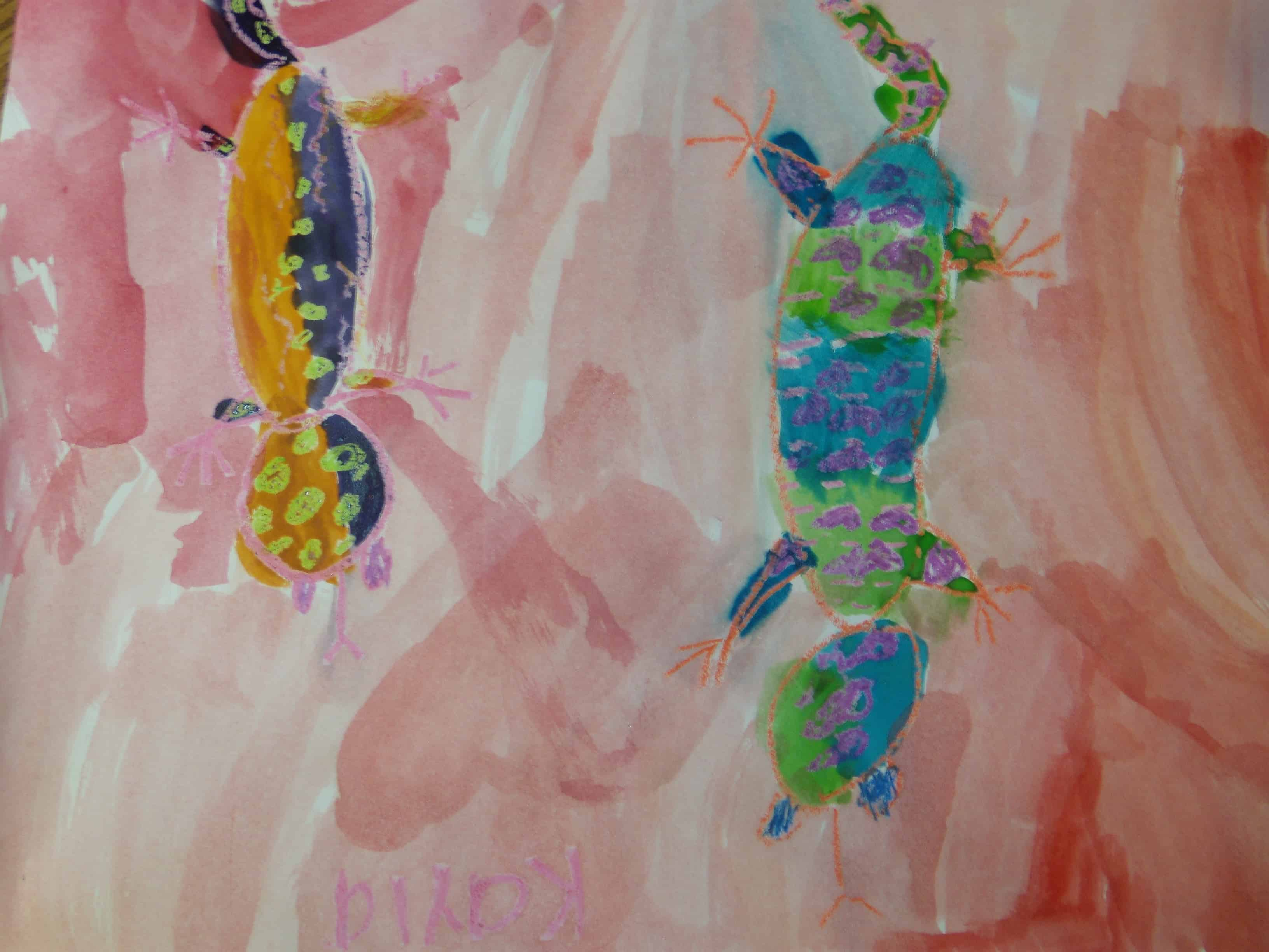 Crayon and water colour lizards