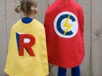 DIY Monogrammed super hero capes 200x150 Homemade Superhero Costumes: Delightful DIY Capes for Kids