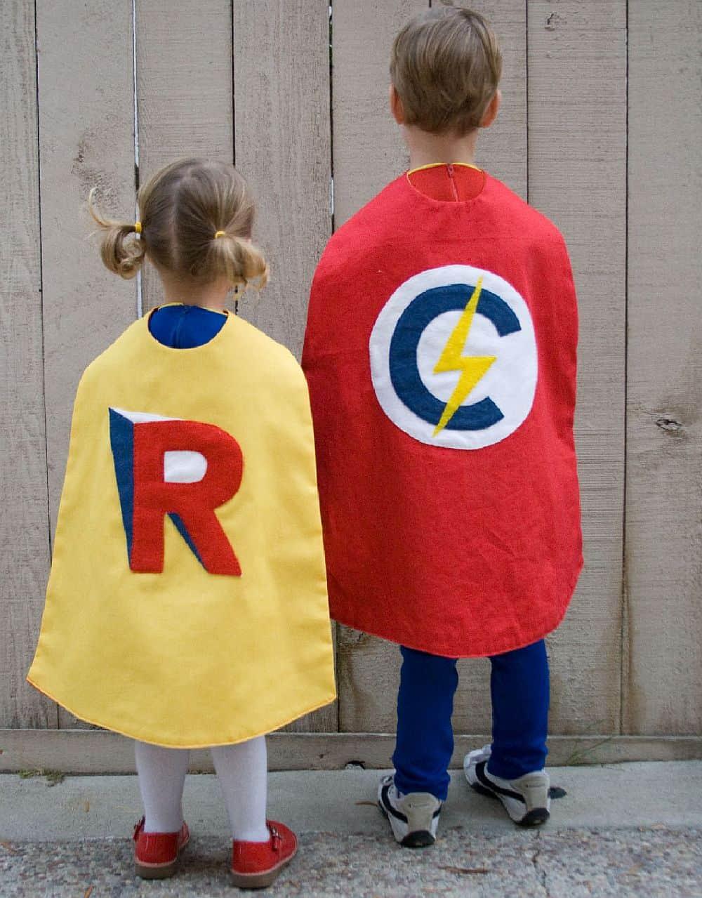1. Monogrammed super hero capes & Homemade Superhero Costumes: Delightful DIY Capes for Kids