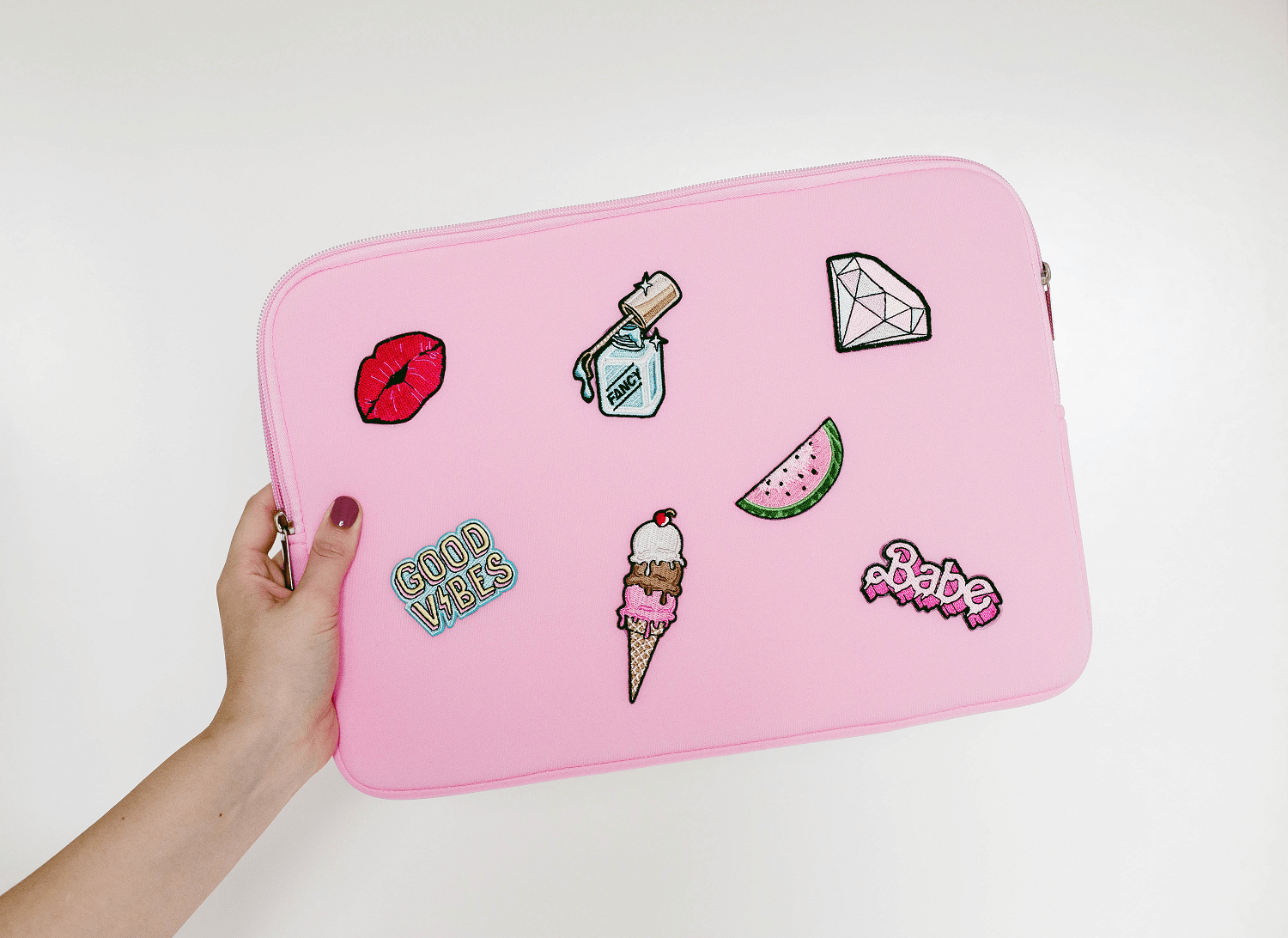 DIY cartoon patch laptop case