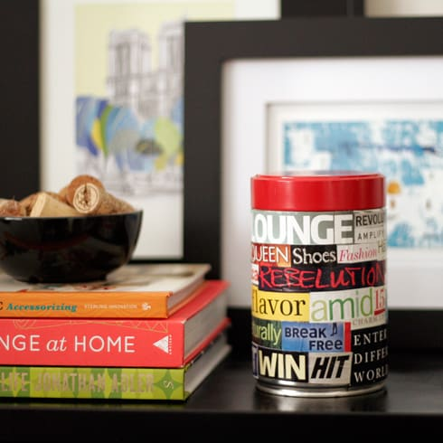 DIY decorative collage cannister