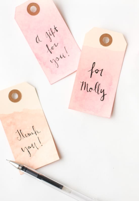 Dip dyed gift tags