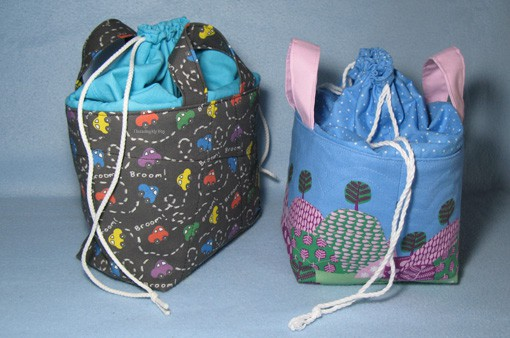 Drawstring fabric basket