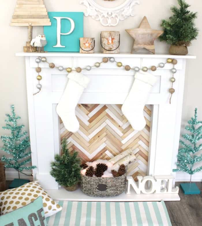 Faux Christmas fireplace