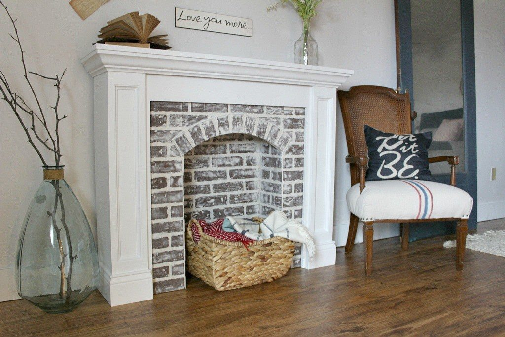 1 Faux Brick Fireplace