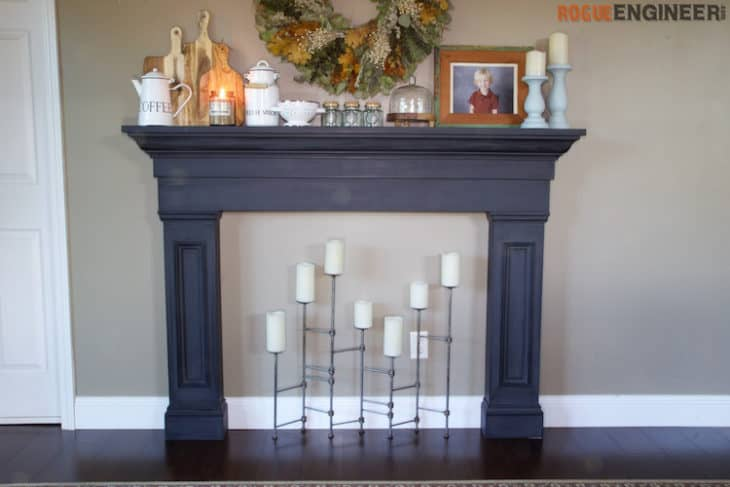 Faux fireplace with candles