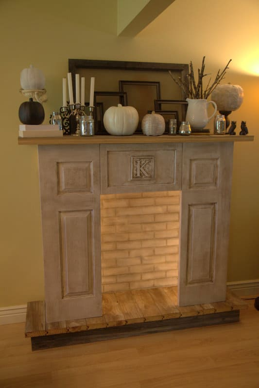 Faux monogram fireplace