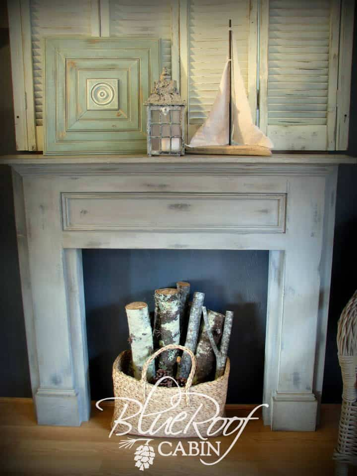 Faux pine fireplace
