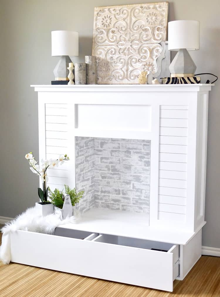 Faux storage fireplace
