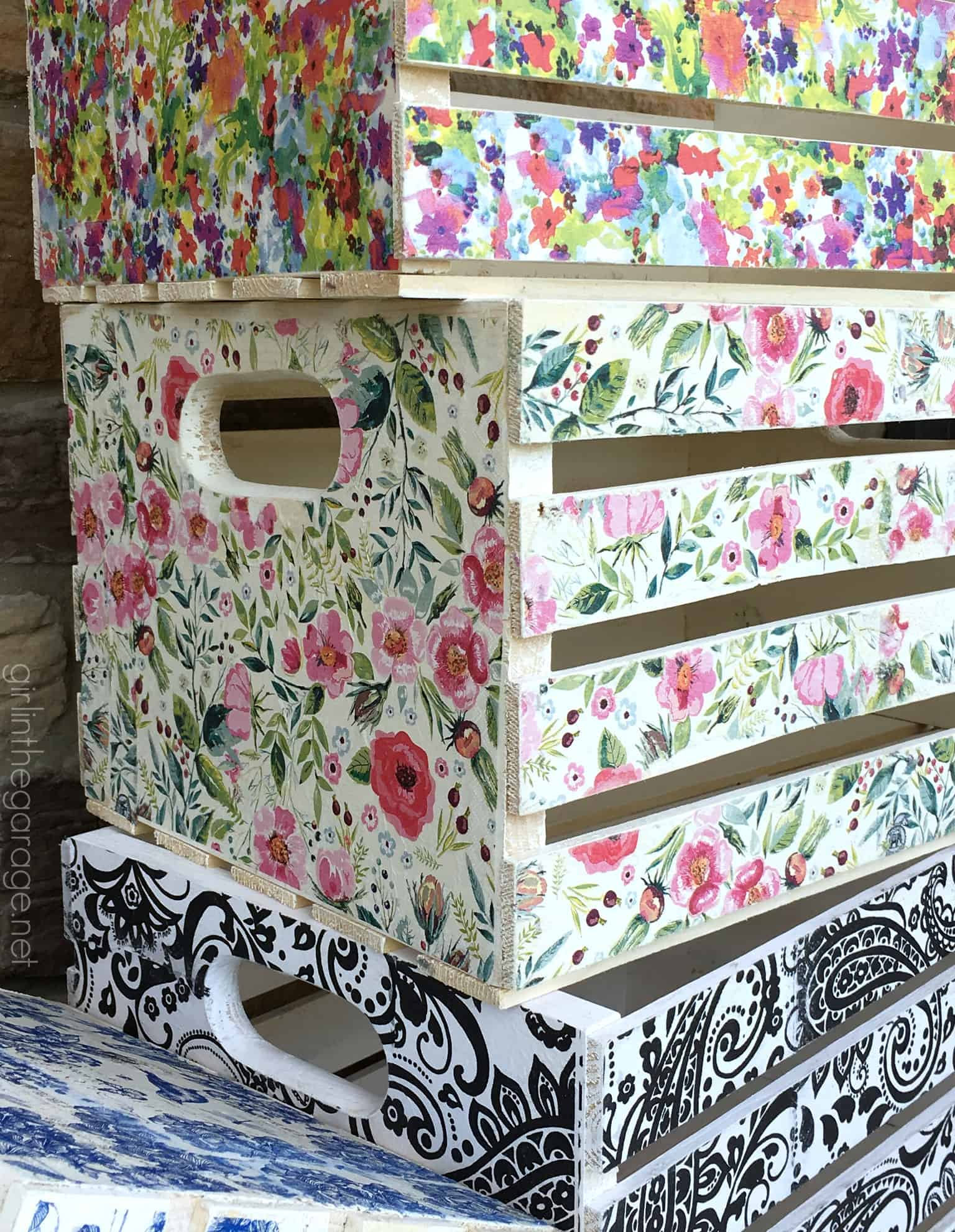 Floral collage wooden crates