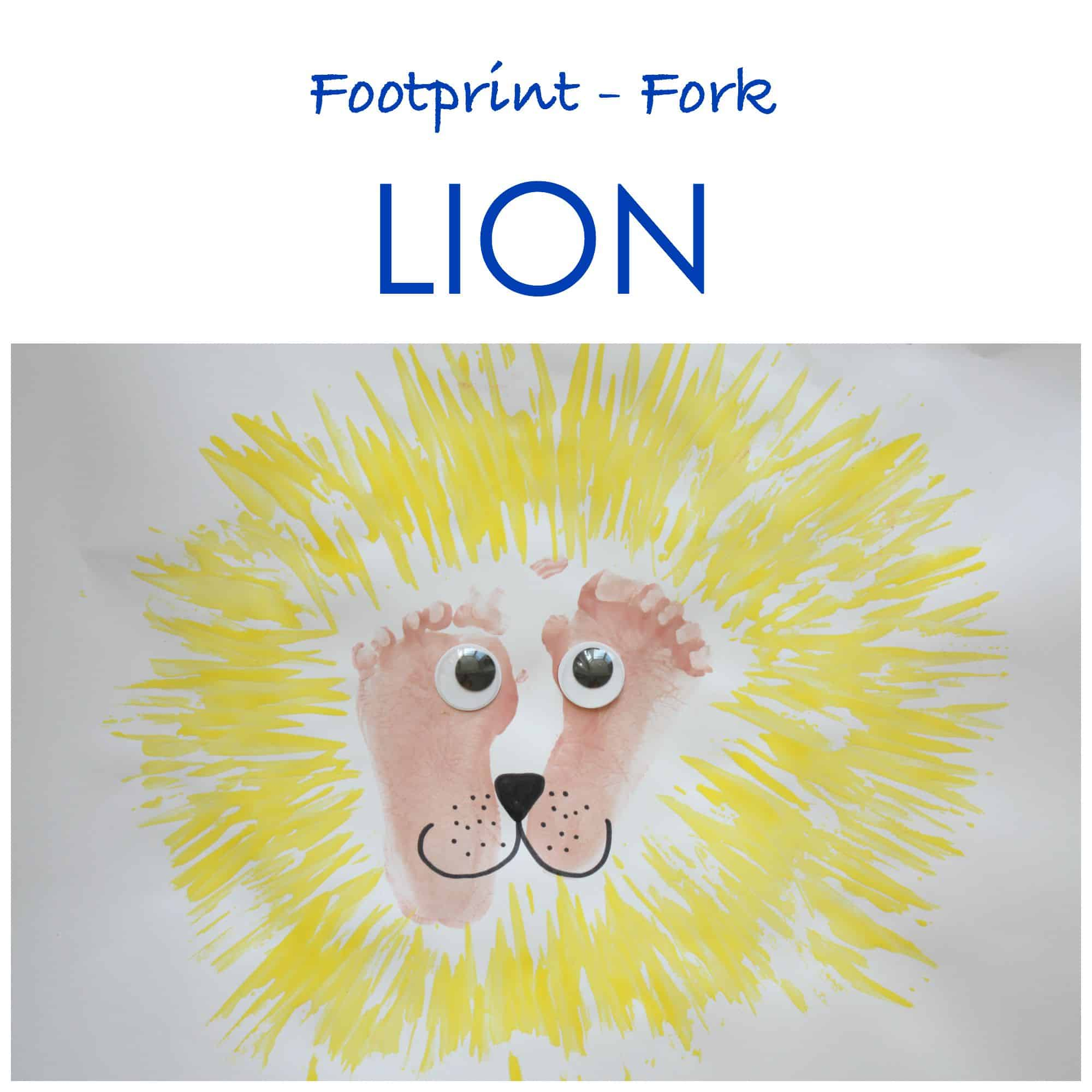 Footprint and fork lion painting