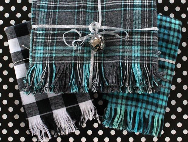 Fringe flannel scarf