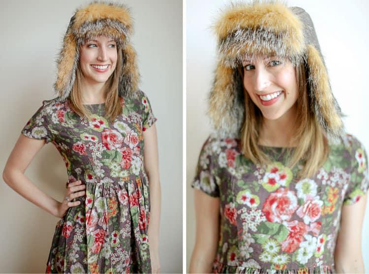 Furry ear flap hat