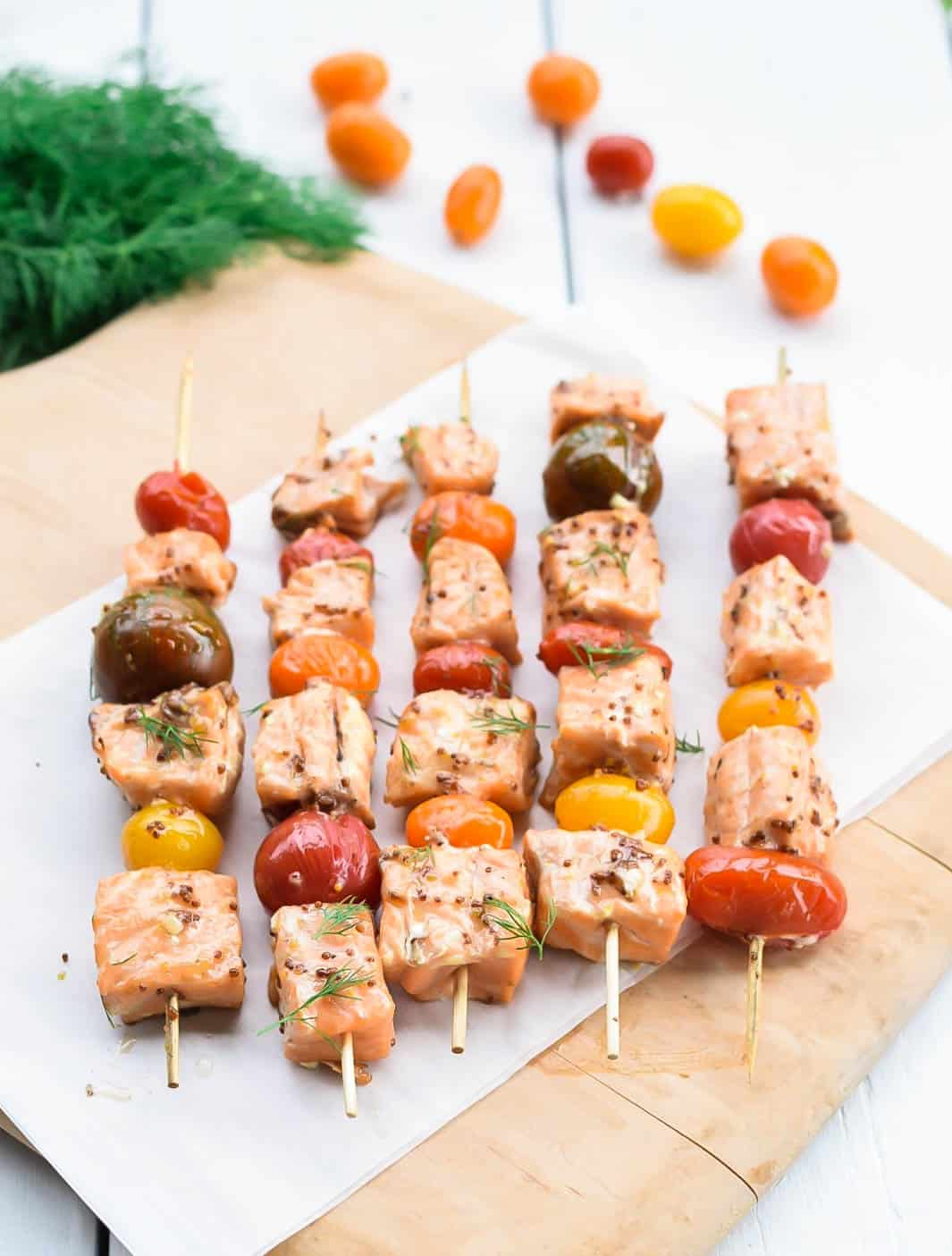Grilled salmon skewers with honey mustard