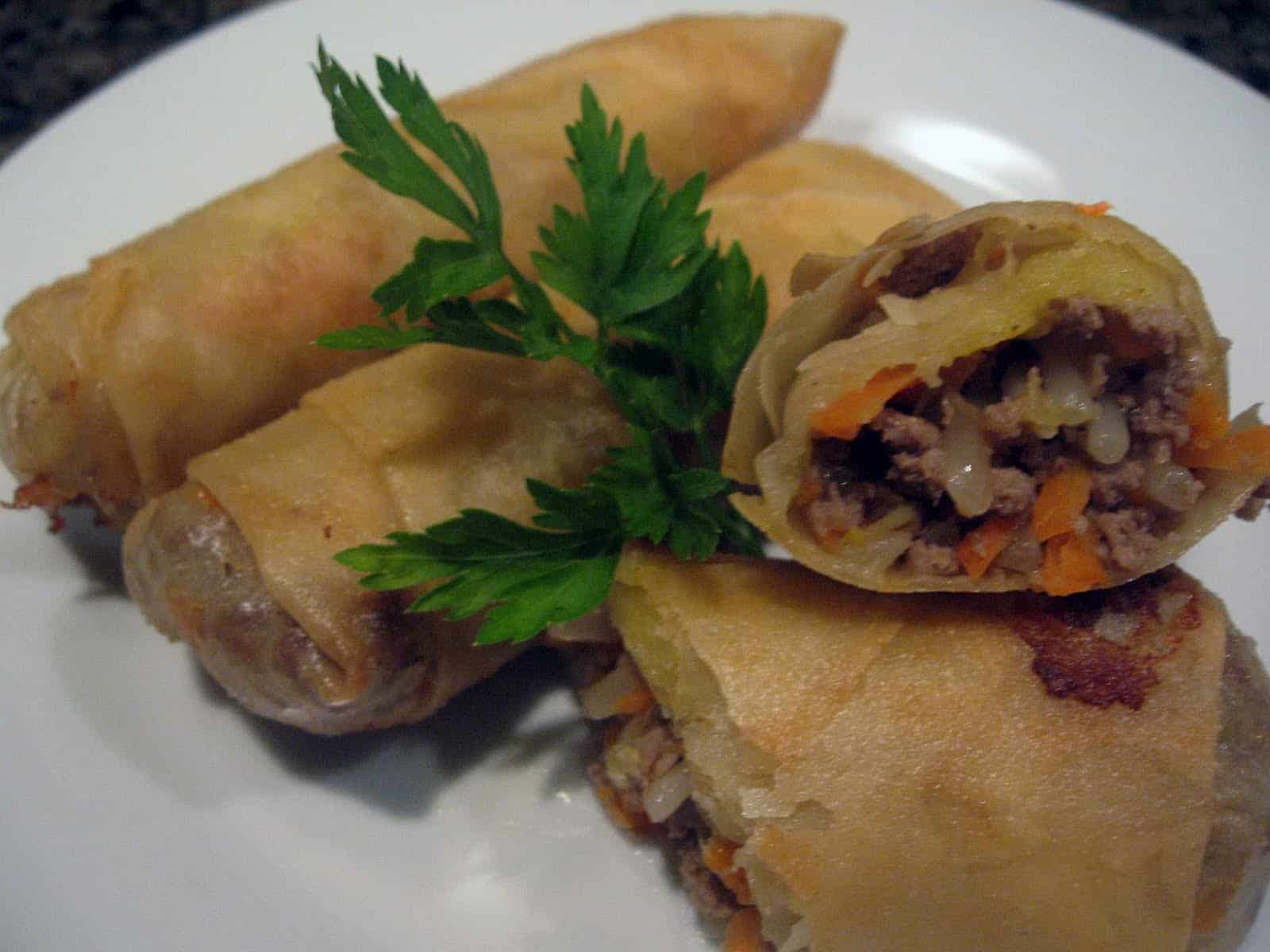 Ground beef and bean sprout spring rolls
