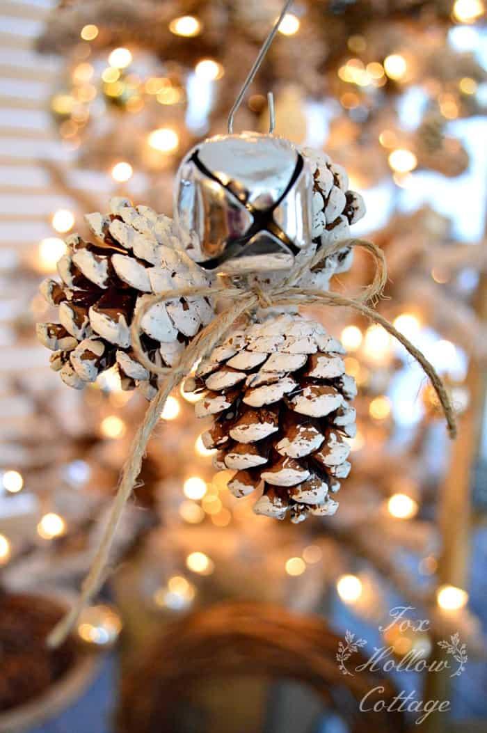 Jingle bell pinecone ornament