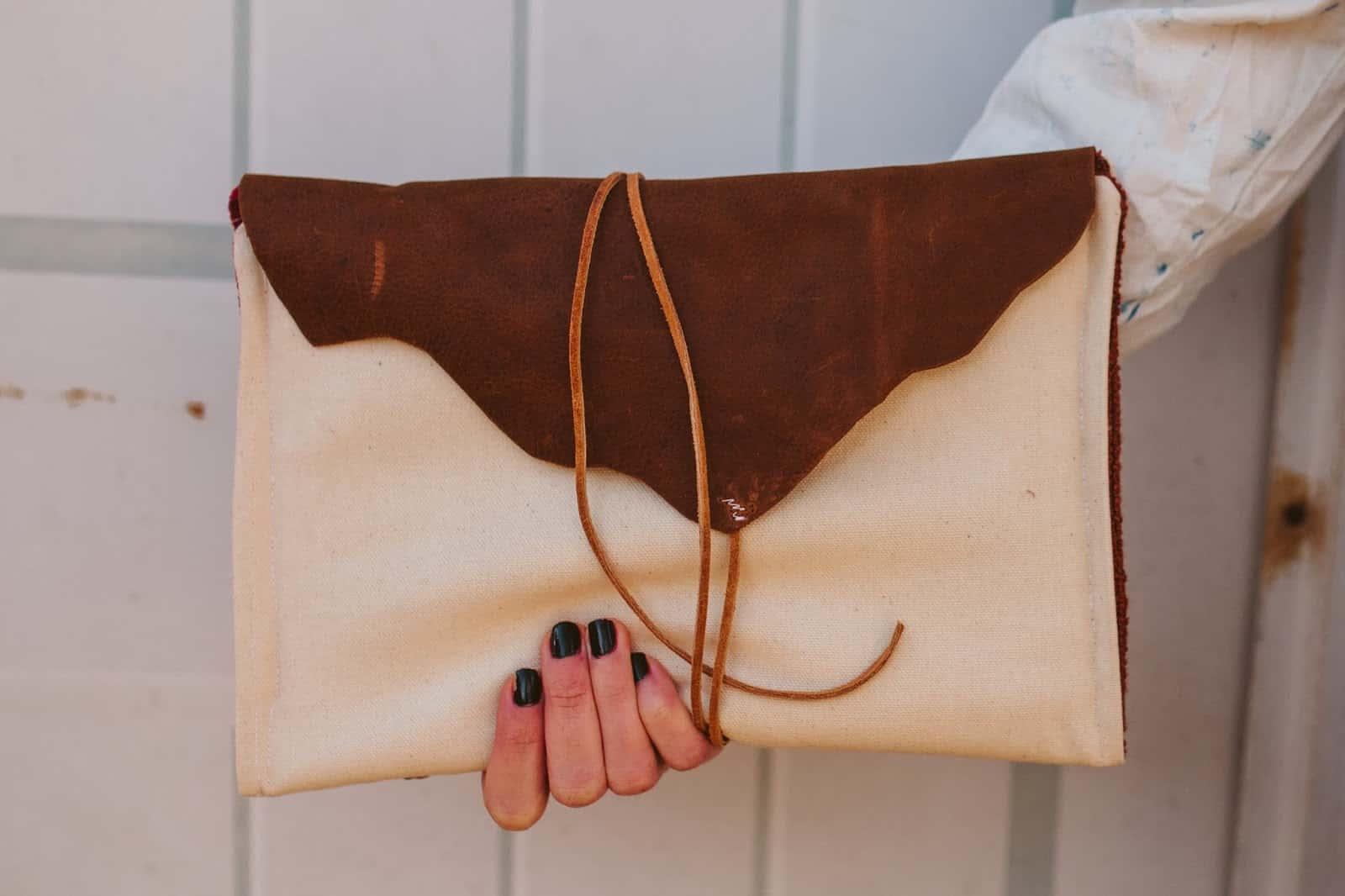 Leather tied horizontal envelope
