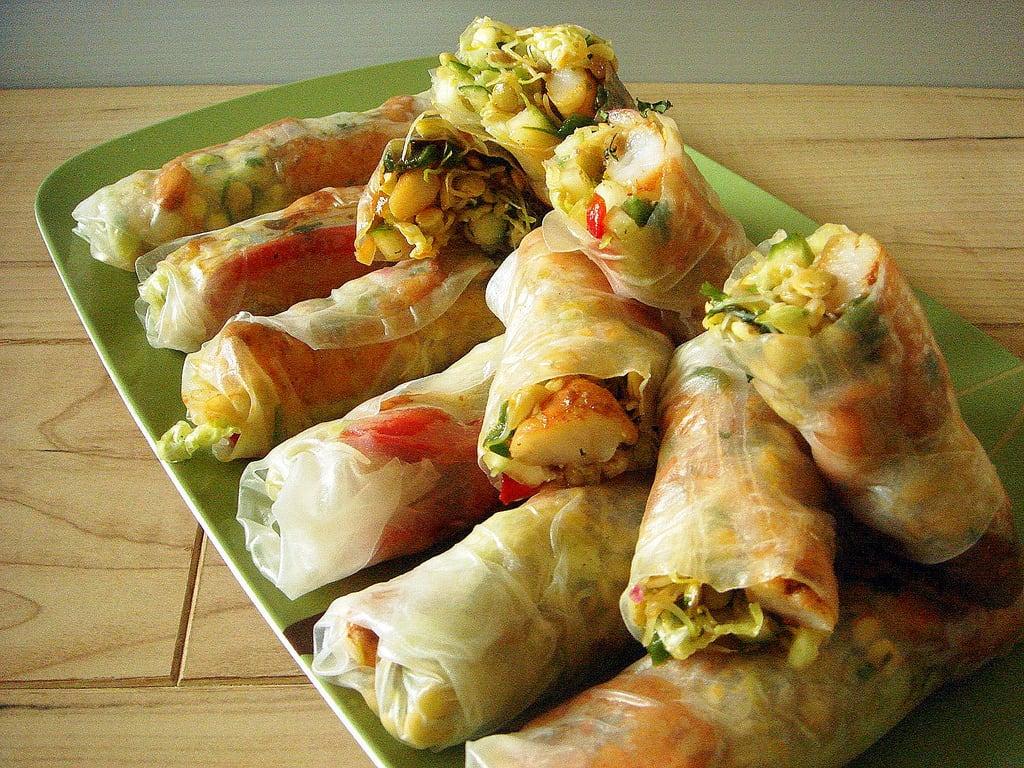 Lentil sprout spring rolles with shrimp