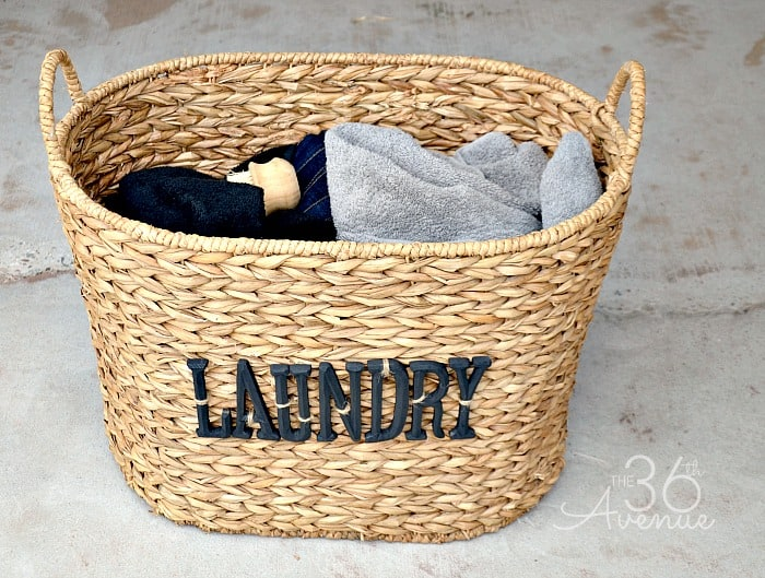 Lettered laundry basket