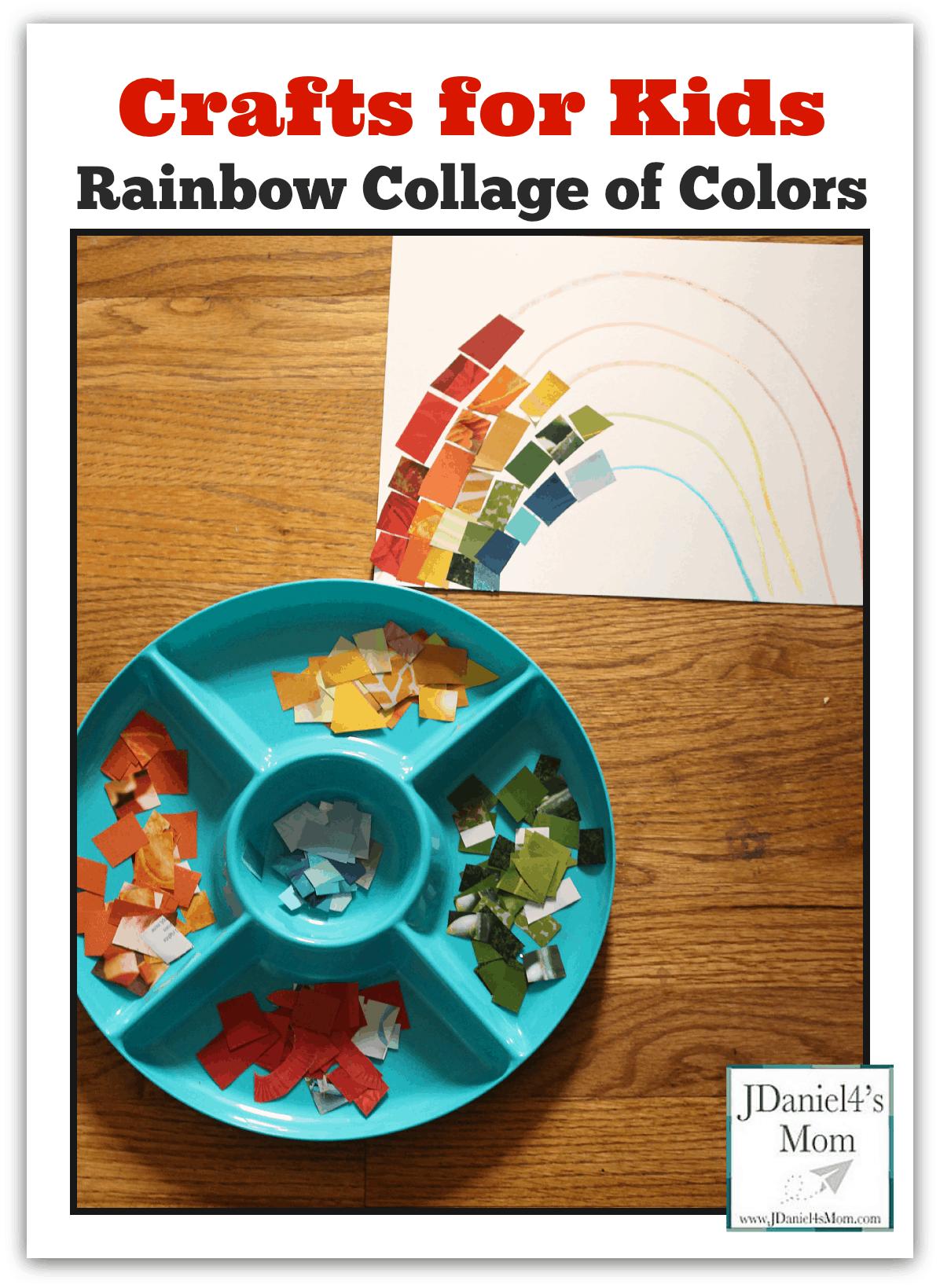 Magazine piece rainbow collage