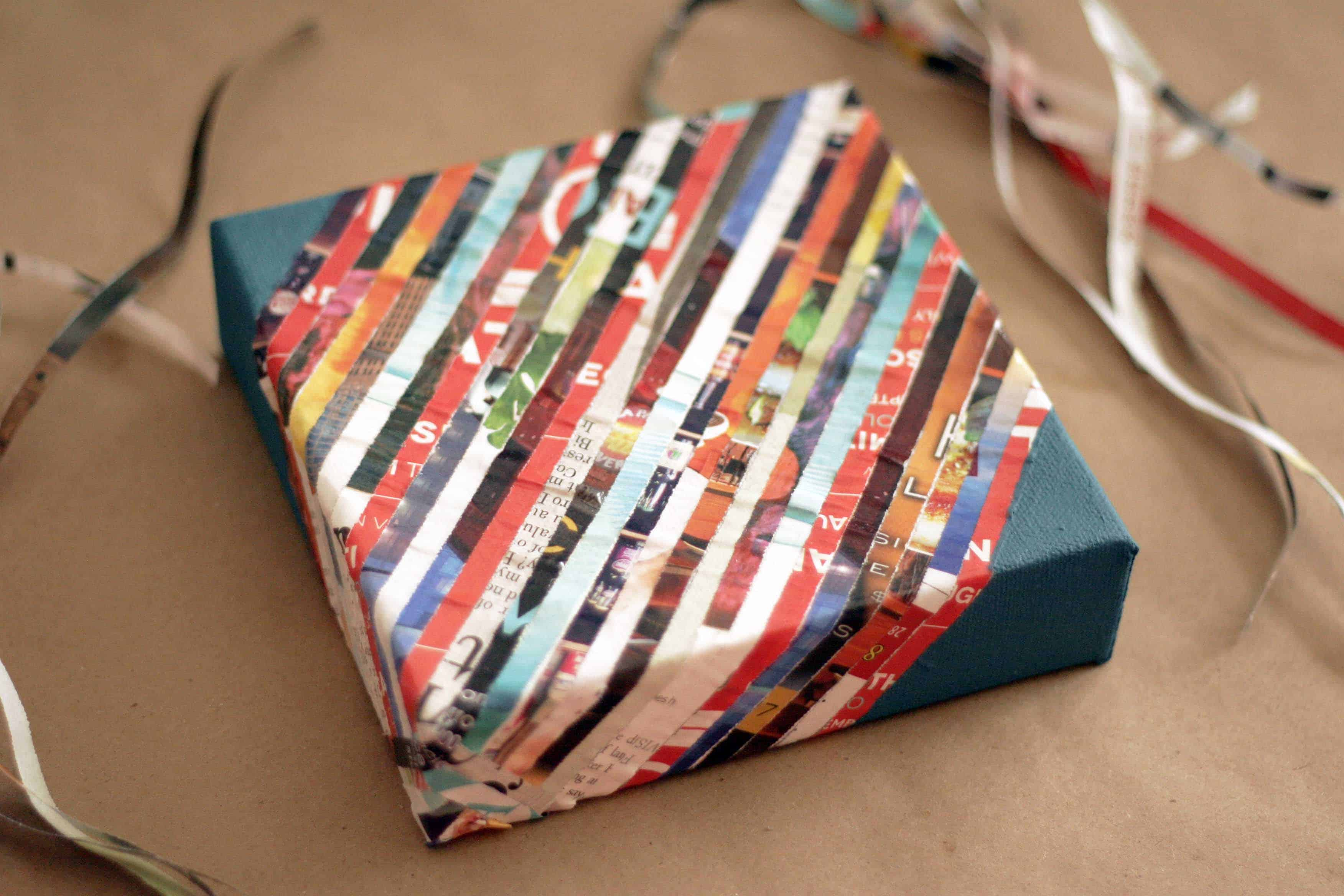 Magazine strip gift wrap box