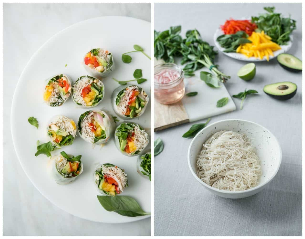 Mango spring rolls with spicy almond butter sauce