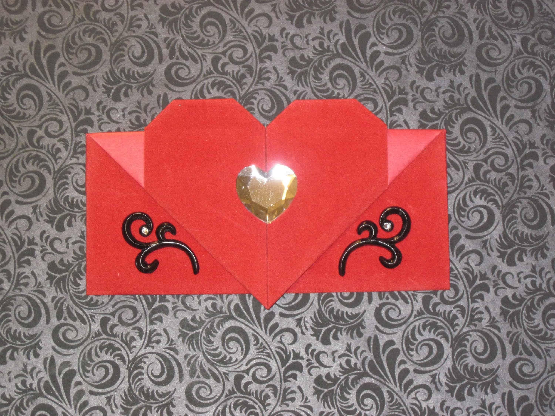 Origami heart envelopes