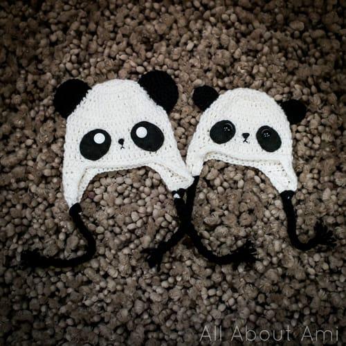 Panda ear flap hat