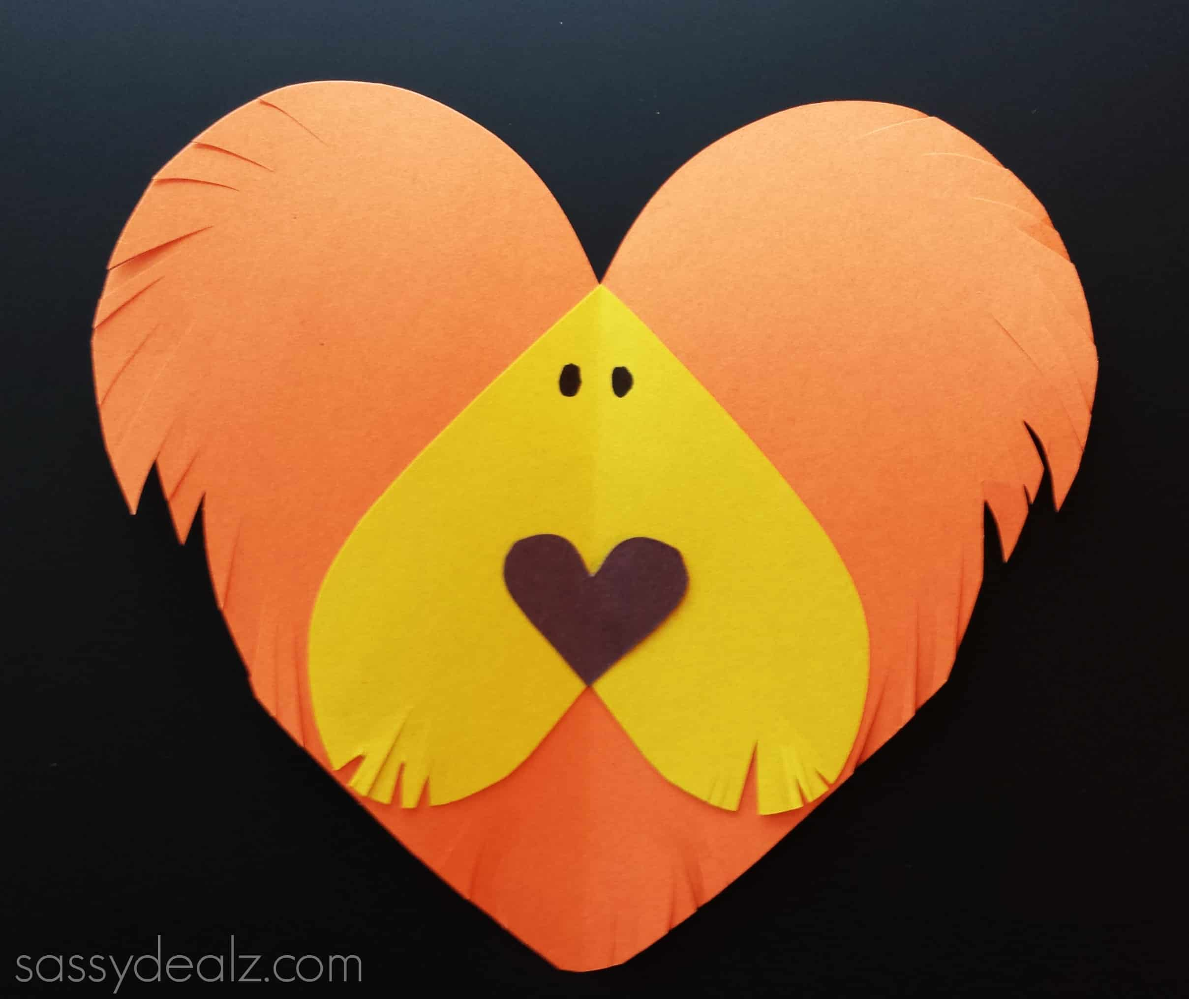 Paper hearts lion